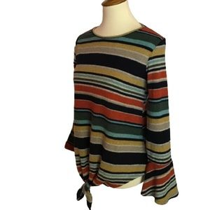 Super soft earthy stripes bell sleeve sweater